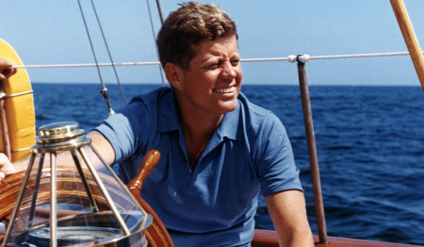 John F Kennedy looking handsome on a boat